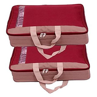 83c43cbe66f3 Buy Kuber Industries™ Saree Lehenga Cover With Handle Maroon (Canvas  Material) Set of 2 Pcs Online - Get 52% Off