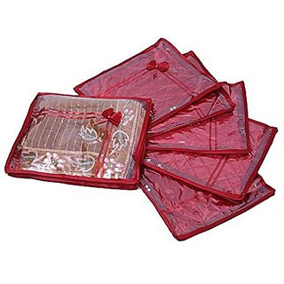 Kuber Industries Designer Saree cover 6 Pcs combo in Maroon satin, Wedding Collection Gift