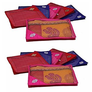 Kuber Industries Quilted Saree Cover 12 Pcs Set (Multi), Wedding Collection Gift