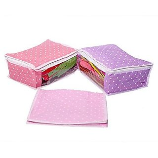 Kuber Industries™ Saree Cover in Polka Dots Cotton Material Set of 3 Pcs