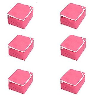 Kuber Industries™ Saree Cover Set of 6 Pcs in Non Woven Material (Pink)