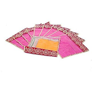 Kuber Industries™ Flip Saree cover with Designer Lace set of 10 Pcs