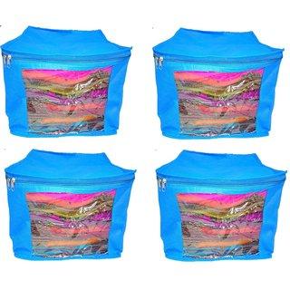 DIMONSIV Plain 10 Inch Ladies Large Non - Woven 4saree Cover. Upto 10 - 15 Saree Cover each  (Blue)