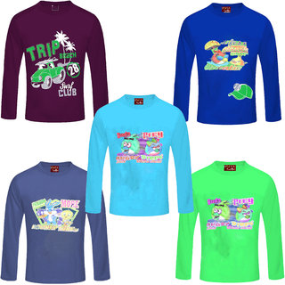 Jisha Fashion Full Sleeves Multicolor tshirt ( Pack of 5)