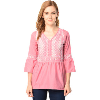1d2861aec28da Buy Pink Embroidered Cotton Top Online - Get 56% Off