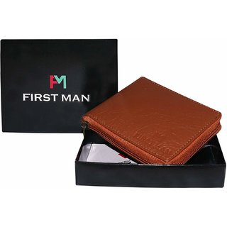 First Man Men's Brown Bi-Fold Leather Wallet (Synthetic leather/Rexine)
