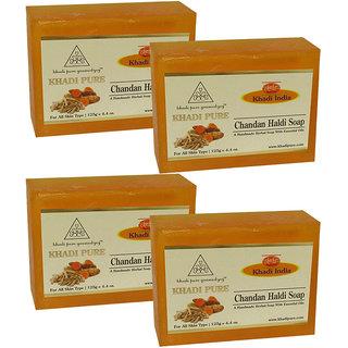Khadi Pure Herbal Chandan Haldi Soap - 125g (Set of 4)