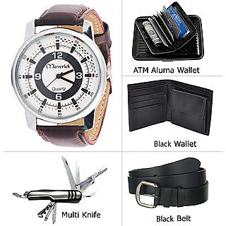 Jack klein Combo of Stylish Brown Analog Watch , Aluma Wallet With Black Belt And Swis Knife