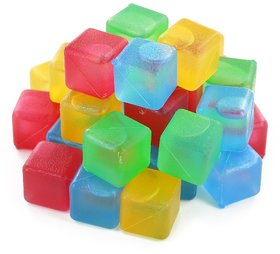 EREIN Pack of 20 Square Reusable Ice Cubes, Made of Plastic  Filled With Pure Water (Assorted Colors)
