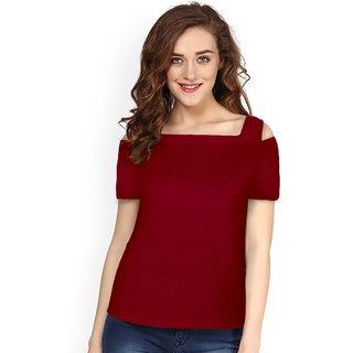 Lava Creation Maroon Plain Round Neck Tshirts  For Women