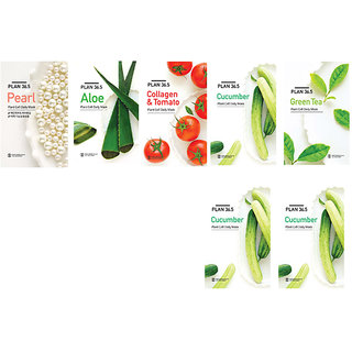 Plan36.5 Pack of 5 different flavor face mask sheet plus 2 cucumber face mask sheet free