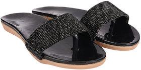 Do Bhai Women's Black Slippers