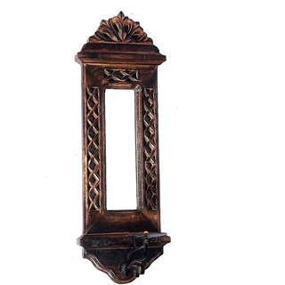 Phirk Craft Wooden Decorative Wall Mirror/ Wall Hanging/ Wall Decor