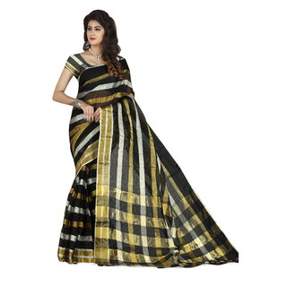18more Women's Cotton Silk Sari with blouse piece material (S03)