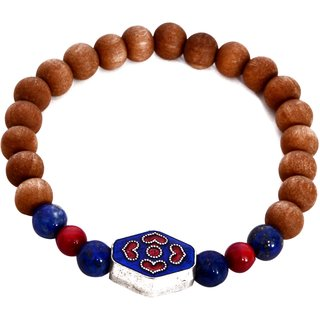 Friendship bracelet for Women made with Lapis Lazuli Coral and Wood beads with decorative metal enameled center bead