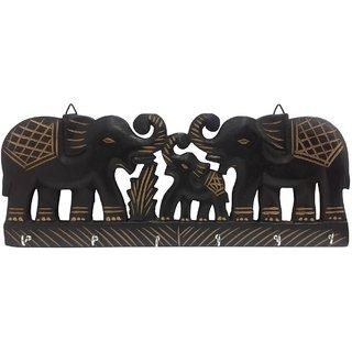 Desi Karigar Wooden Wall Hanging Key Hanger With Key Hook In Double Elephant Shape