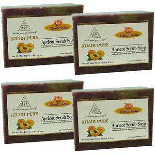 Khadi Pure Herbal Apricot Scrub Soap - 125g (Set of 4)