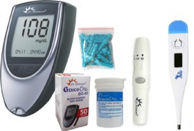 Dr.Morepen BG Glucometer With 75 Test Strips and FREE  100 Round Lancets  Digital Thermometer