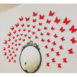 JAAMSO ROYALS DIY 3D Butterfly Wall Sticker Art Decal PVC Paper- 12pcs (Red) Wall Sticker for Home Dcor