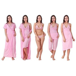 DILJEET Women's Self-Design Satin Nightwear Set