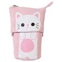 Aeoss New Cartoon Pencil Bag Canvas Cartoon Cat Cute Telescopic Pen Case Box with Zipper