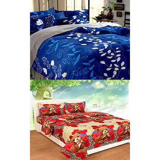 z decor polycotton double bed sheet, set of 2 with 4 pillow cover (chita teddy,b.patti)