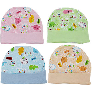 Neska Moda Baby Boys And Girls Multicolor Cap For 0 To 18 Month Pack Of 4