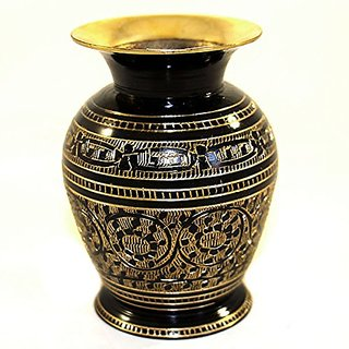 Skywalk Metal Brass Flower VASE with BIDRI NAKKASHI Work, Perfect for Home Decoration (Black and Gold, 4-Inch Length)