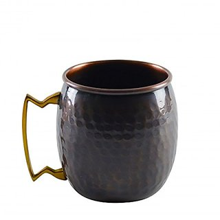 Skywalk Copper Handmade Moscow Mule Hammered Round Mug for Restaurant, Ware Bar, Wine  Home Gift, 530ml (Multicolour)