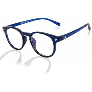 Lee Topper Blue Anti Glare Clear Polarized Full Rim Round Unisex Sunglasses