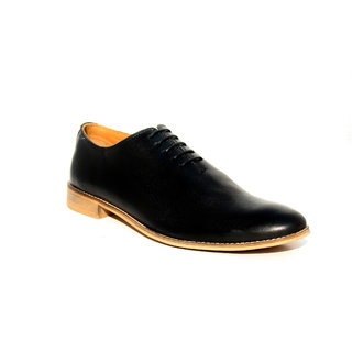 Buy Wolven Handmade One Piece Black Formal Leather Shoes Online