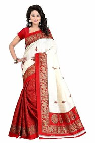 Florence Beige Bhagalpuri  Saree With Blouse