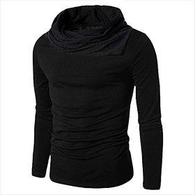 PAUSE Black Cotton Blend Cowl Neck Regular Full Sleeve Men's T-Shirt