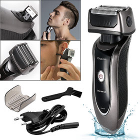 Triple Blade Chargeable Waterproof Bread Mustache Foil Hair Shaver Electric Razor with Sidenurns Trimmer Cutter For Men