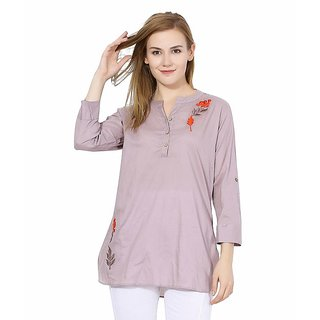 Grey Embroidered Cotton Long Top