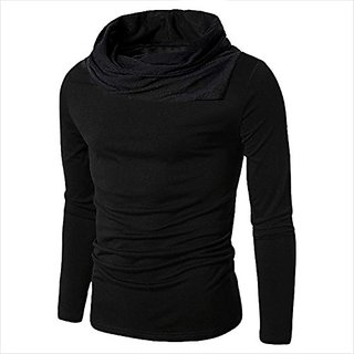 PAUSE Black Cotton Blend Cowl Neck Regular Full Sleeve Men's T-Shirt