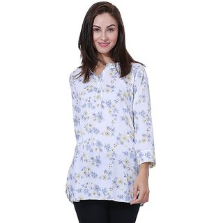 White Printed Cotton Long Top
