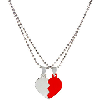 Styles Creation Men's Romantic Valentine Special Heart Shape Love Red Crystal Pendant Necklace Chain Jewellery (ARTFLJWL