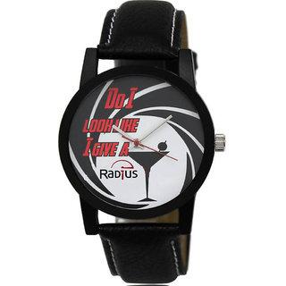 Radius Black Strap Round Dial Wrist Watch For Mens and Boy RQ-83
