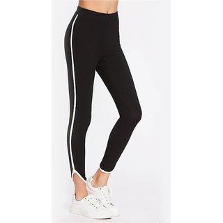 Code Yellow Women's Curved Hem Side White Stripe Black Casual Leggings Gym Yoga Sports Wear