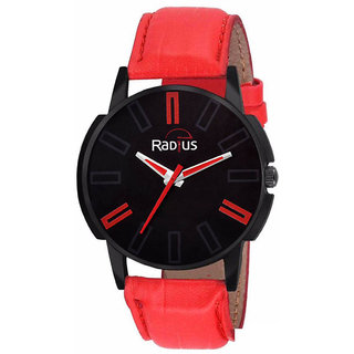 Radius Red Strap Round Dial Wrist Watch For Mens and Boy RQ-90