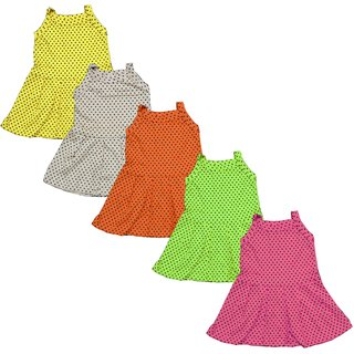 Pack Of 5 Eazy Trendz Baby Girls Polka Printed Cotton Frock/Gown