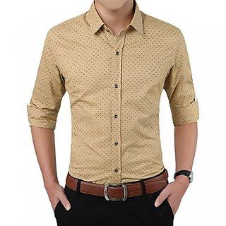 Royal Fashion Men's  Beige Regular Fit Casual Shirt