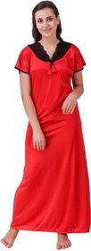 DILJEET Women's Red Self-Designed Satin Night Gowns