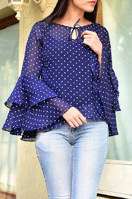 Rosella Blue with White Dot Bell Sleeve Top