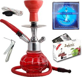 12 inch hookah with flavour, coal, foil and tong
