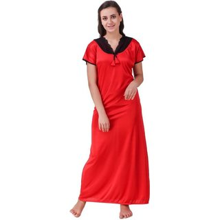 1318483f2e Buy DILJEET Women s Red Self-Designed Satin Night Gowns Online - Get ...