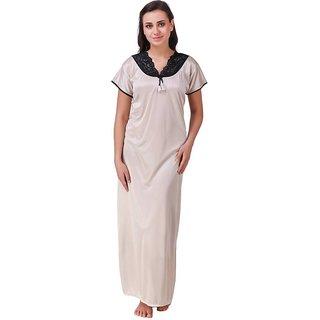 DILJEET Women's Off-White Self-Design Satin Night Gown
