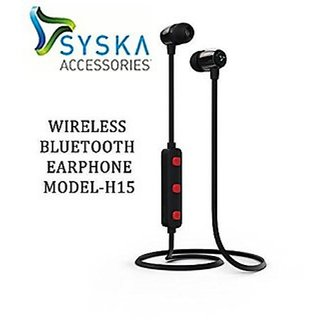 Syska H-15 Black in the Ear Wireless Bluetooth Headset with Mic