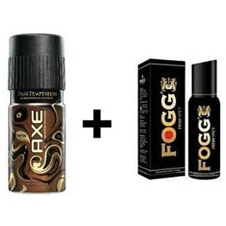 Axe Coklate And FOGG Black Collection Deo Body Spray For Men - 2 Pcs